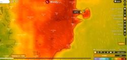 La temperatura para este domingo, en el centro y este de la provincia de Chubut, llegará a los 34º. (Windy.com)