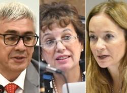Jueces. Desde la izquierda, Gustavo Castro benefició al violador, Monella y Servent lo condenaron.