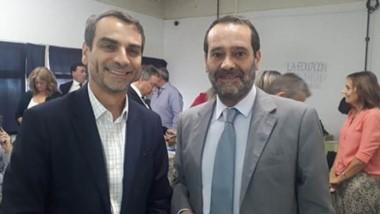 El presidente del Superior Tribunal, Alejandro Panizzi junto a Héctor Chayer, representante de Justicia 2020.