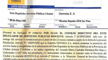 Documento. La CD del ENRE que le avisa a Genneia que por dos meses se frenó el traspaso de las centrales.