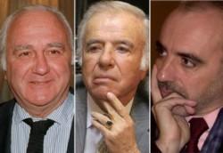 """Anzorreguy, Menem y Galeano a la derecha). Tres """"anti mosqueteros"""" en el ojo de una causa muy delicada..."""