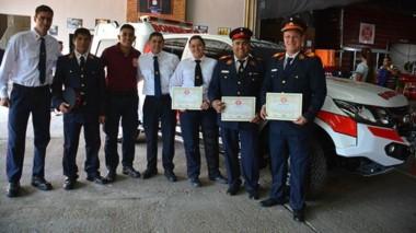 En el cuartel de bomberos sobre la Avenida Rawson se realizó el acto  por el nuevo aniversario.