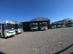 Los colectivos de El 22 parados frente a la terminal de ómnibus (foto @loreleeming)
