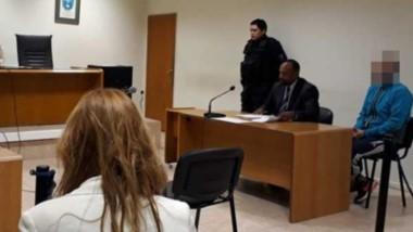 Matías Alberto Polenta en la audiencia cuando recibió prisión domiciliaria. A partir de allí, desapareció.
