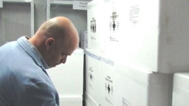 Dosis. El ministro Pizzi revisa las vacunas que ya llegaron a Chubut.