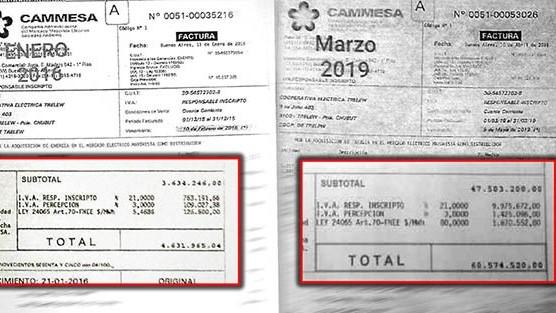 Comparación. La factura de Cammesa a la Cooperativa de Trelew en 2016 y 2019, con 1.300% de aumento.