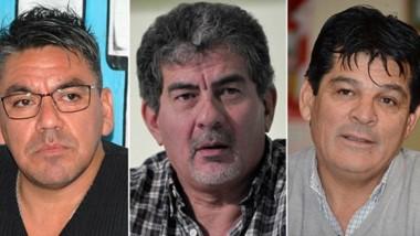 Referentes. Desde la izquierda, Luis Collio y  Jorge Taboada, de Camioneros, y José Pérez, de la UTA.