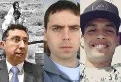 Protagonistas. Desde la izquierda, Lleral, que procesó a los imputados, Federico Lomeña y Héctor López, asesinados presuntamente por el grupo de 9 sujetos que están presos.