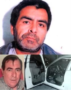 De frente. Una foto de prontuario de Martín Laurindo Vélez Galván / Impunidad. Gangeme y una imagen inédita de su coche manchado de sangre minutos después del crimen.