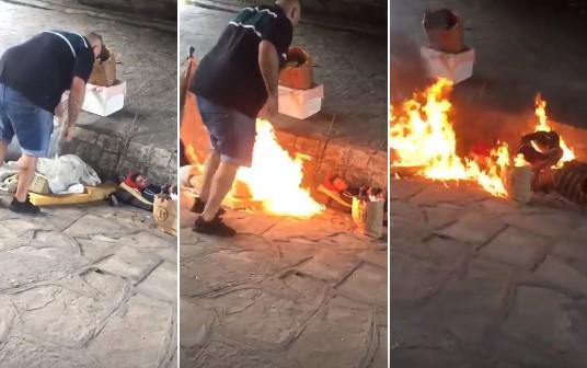 Un hombre bajó del auto y prendió fuego a un indigente