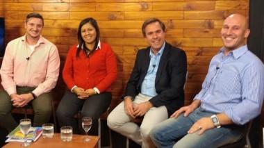 Rodrigo Sotomayor, Cristina González, Bruno Pogliano y Matías Ubeda, candidatos a intendente en El Bolsón.