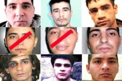 Los nueve presos que se fugaron de un micro del Servicio Penitenciario.