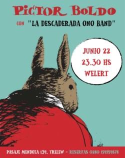 """La base artística de este flyer es de Martín Gatica, otro talento trelewense . Y como dice el Negro Dolina, """"nadie debe dejar de faltar...""""."""