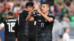 Alvarado festeja su gol. Segunda victoria de México en la Copa Oro 2019.