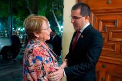 La ccomisionada por Naciones Unidas y el canciller de Venezuela Jorge Arreaza