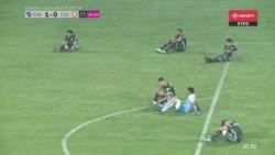 López tomó un rebote y la mandó al fondo de la red a los 46' del primer tiempo.