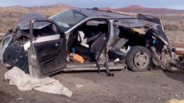 Así quedó la camioneta donde se conducían las mujeres lesionadas.
