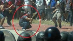 La imagen difundida a nivel nacional tras los incidentes frente al Congreso Nacional