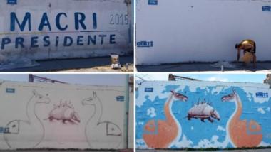 Transformación. Así evolucionó una pared rawsense que pasó de Macri a la fauna patagónica.
