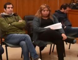 Actores. Desde la izquierda, Gilardino -que será sobreseído-, Marcelo Suárez, Diego Lüters, Leticia Huichaqueo y Diego Correa, comprometidos.