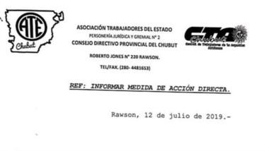La notificación de ATE de la medida de fuerza por otros siete días.