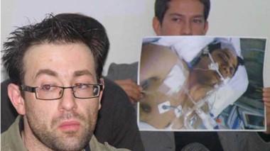 Audiencia penal. Colombo, el patovica del episodio esa noche, y una imagen de Espina internado y en coma.