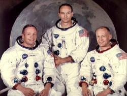 Armstrong, Collis y Aldrin en una fotogrofía de 1969. Solo dos de ellos estarán presentes en el homenaje