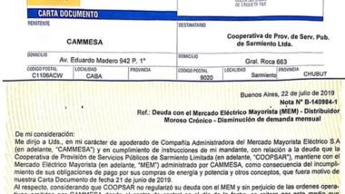 Notificación. La CD de la mayorista de energía confirma que Sarmiento contará con menos energía.