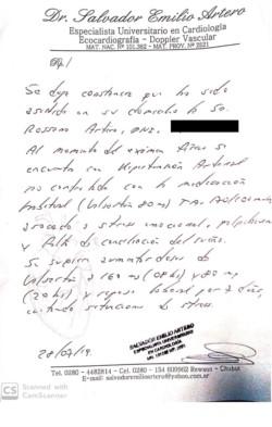 El certificado médico presentado como anexo a la nota de Artero