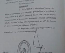 El Juez Federal con competencia electoral rechazó la adhesión (imagen EQSNotas)