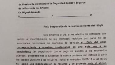 La carta que se envío al Directorio de Seros amenazando con el corte.