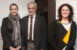 La nueva fiscal Vottero Alberti (izq.) y la jueza laboral Castro Blanco, junto al presidente del Superior, Mario Vivas.