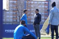 Franco Soldano y Burdisso, luego del entrenamiento de hoy de Boca.