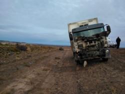 Imagen del camión involucrado en el accidente (foto @SilAragn)