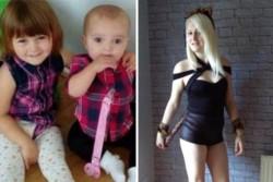 Louise Porton y sus hijitas Lexi Draper de tres años y a Scarlett Vaughan de 17 meses.