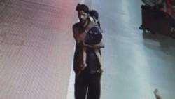 Captura del video donde se ve al secuestrador llevándose a la niña.