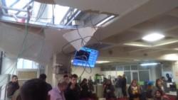 Cedió la mampostería en el techo del hall de la Municipalidad (foto @SilAragn)