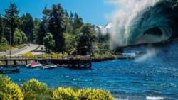 Dantesco. Un desprendimiento de 3 km de ancho por 10 km de largo provocaría una ola catastrófica en el Lago Traful. (Jornada)