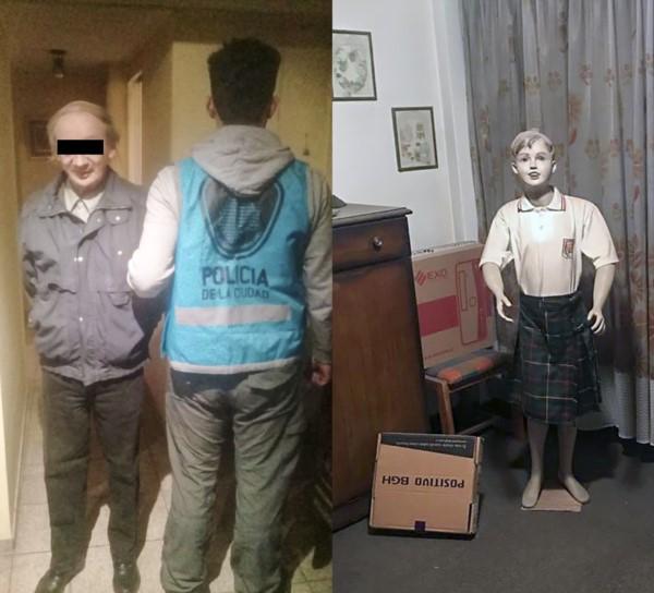 Grotesco. el degenerado detenido y al lado, un muñeco de un niño con vestido de colegial.