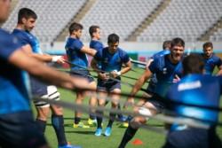 Los Pumas  realizaron el Captain's Run en el estadio del debut ante Francia.