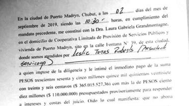 Constancia. La notificación judicial para la cúpula de Servicoop por el embargo de CAMMESA para Madryn.