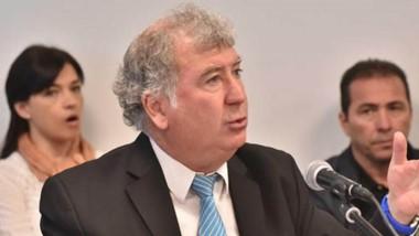 El penalista Fabián Gabalachis junto a su defendido Diego Correa en a jornada de alegatos de los patrocinantes de los imputados por la causa.