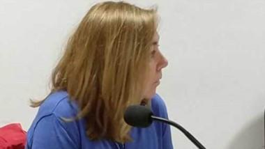 La fiscal Laura Castagno en momentos de la audiencia en tribunales.