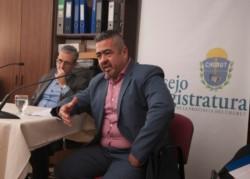 El fiscal Iturrioz ayer, defendiéndose ante el Consejo de la Magistratura.