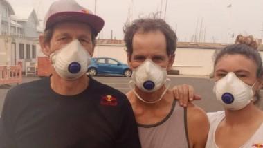 Santiago Lange y Cecilia Carranza, que se preparan para el Mundial de Nacra 17 en Geelong, tuvieron que entrenar con una máscara. Otra consecuencia de los incendios.