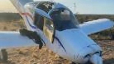 Imagen del estado en el que quedó el avión tras el siniestro aéreo.
