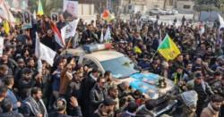 Miles de iraquíes despiden a líder iraní Soleimaní en funeral en Bagdad.