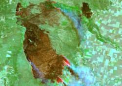 Incendios en Córdoba: imagen satelital de Alpa Corral en el límite con San Luis, tomadas por el satélite Sentinel 2.