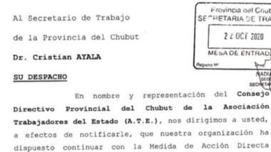 La notificación que se hizo desde el gremio a la Secretaría de Trabajo.