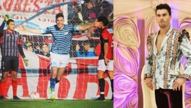 Del verde césped a las tablas. Covalshi y dos imágenes que podrían definirlo, como jugador de fútbol y como modelo publicitario.